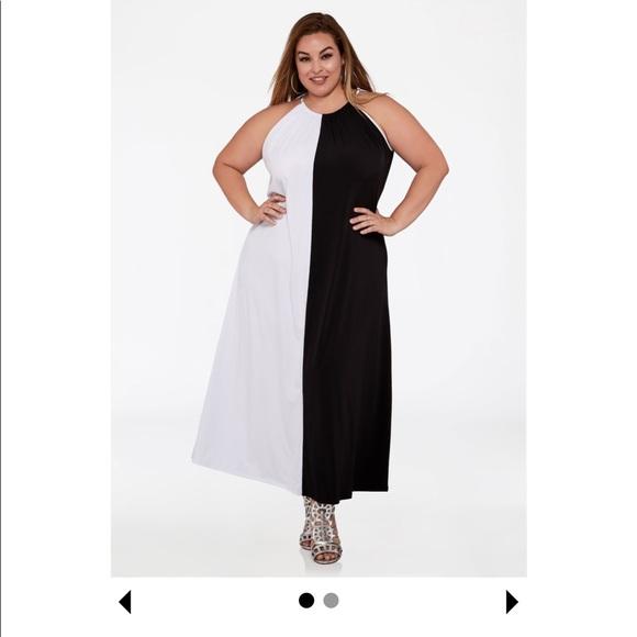 Ashley Stewart Dresses Color Block Halter Maxi Dress Plus Size